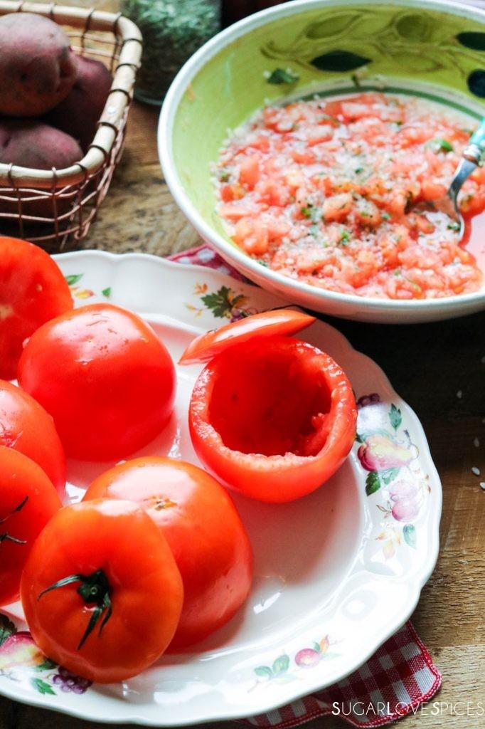 Pomodori con Riso e Patate al forno