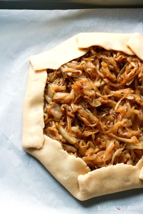 Caramelized Onion Galette with Parmigiano Cream-before