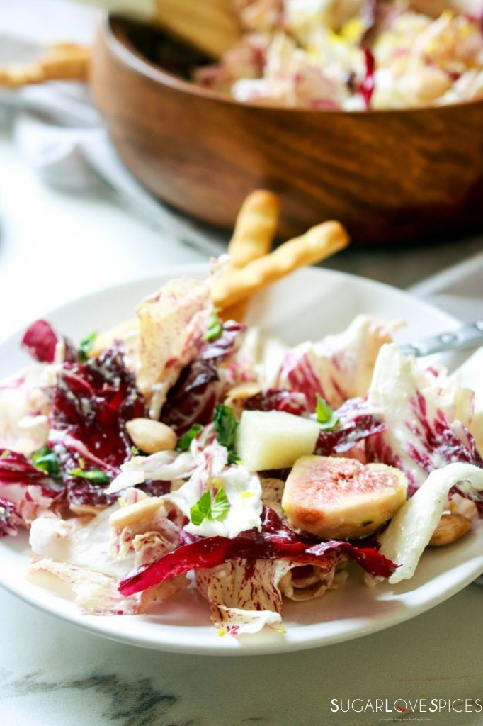 Radicchio pear fig salad with mascarpone dressing-in the plate