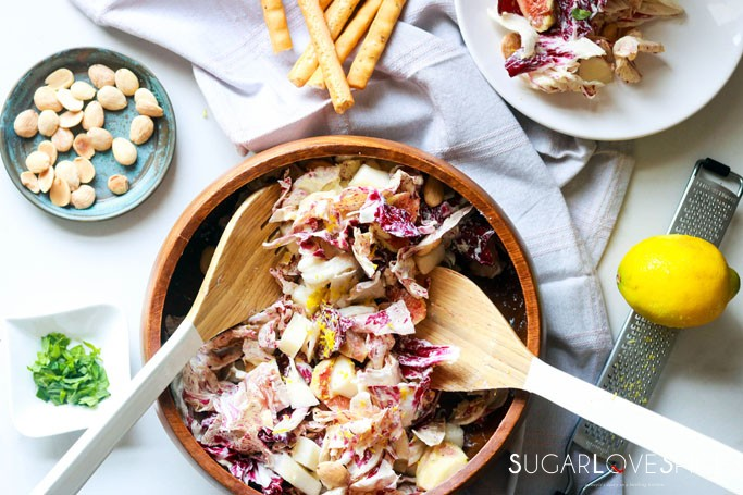 Radicchio Pear Fig Salad with Mascarpone Dressing