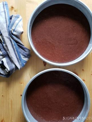 Yogurt Cream Chocolate Ganache Cake with Field Berries-cakes in the pan