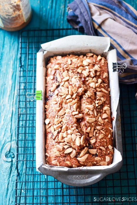almond butter and jam rye bread-bread in the pan