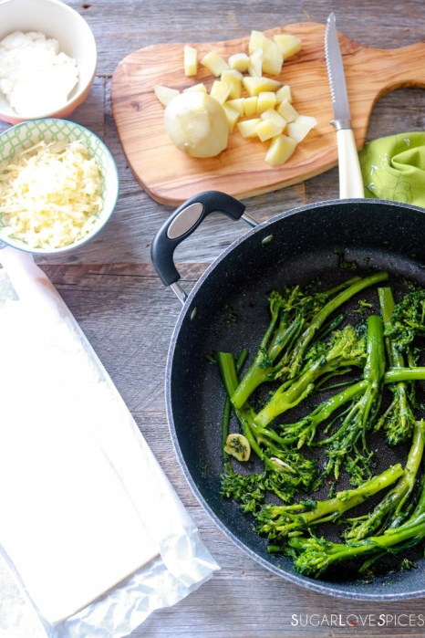 Broccolini and Potato Butter Pastry Tart-broccolini and other ingredients