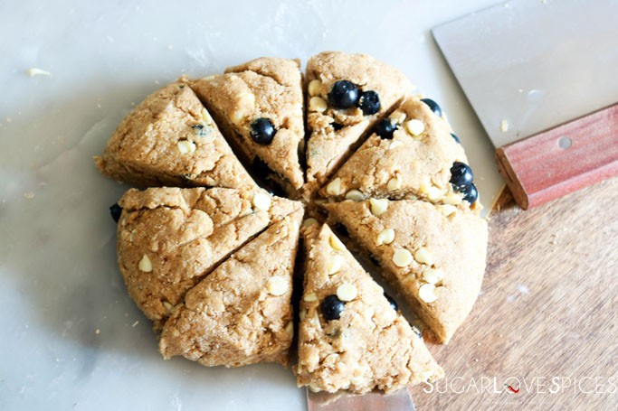 Whole Wheat Blueberry White Chocolate Scones-cutting the dough