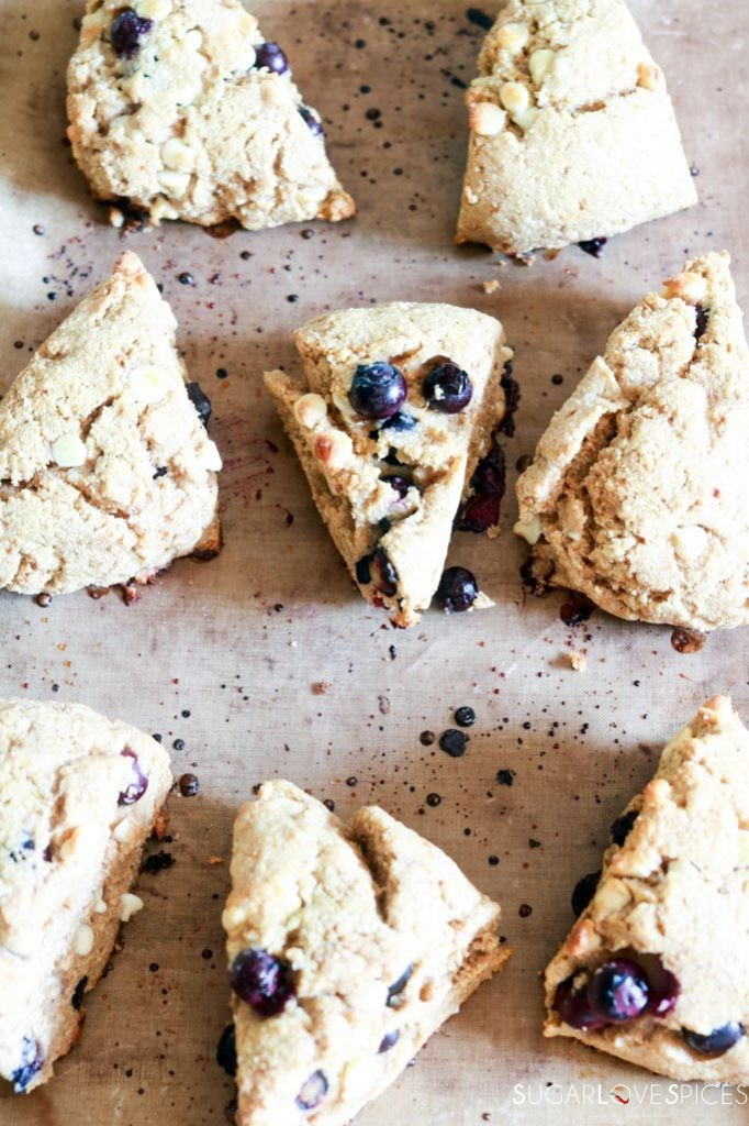 Whole Wheat Blueberry White Chocolate Scones-baked