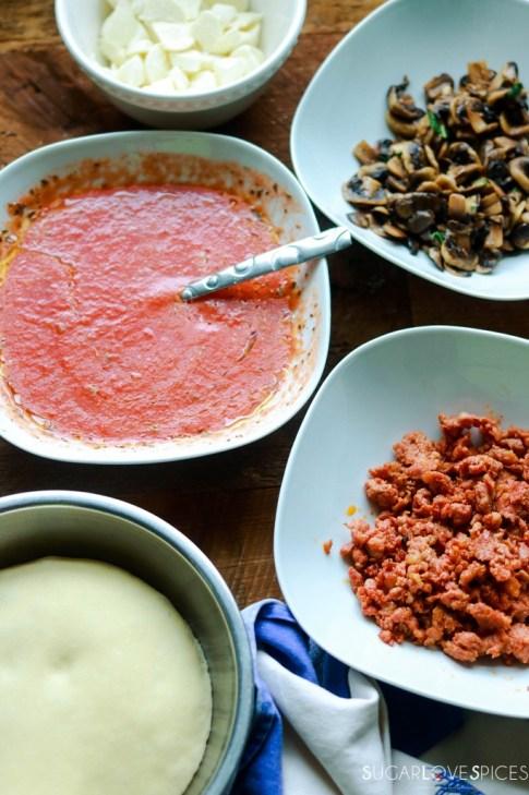 Pizza Funghi e Salsiccia (Mushroom and Sausage Pizza)-prep