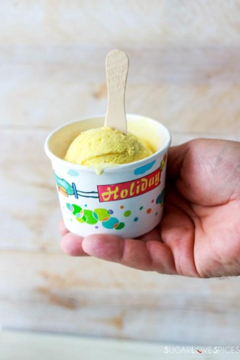 Turmeric Ginger Honey No-Churn Ice Cream-Loretos-hand