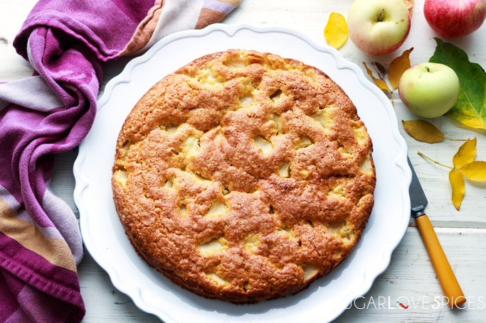 Torta di Mele (Apple Cake with Olive Oil)-whole cake on a board