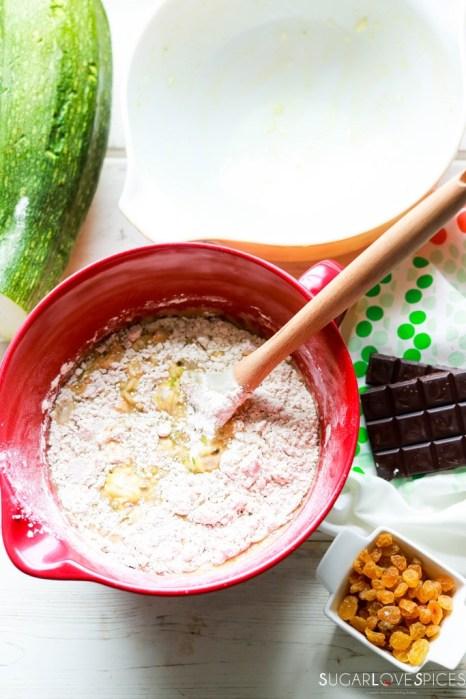 Zucchini Chocolate Raisin Spelt Muffins-mixing batter