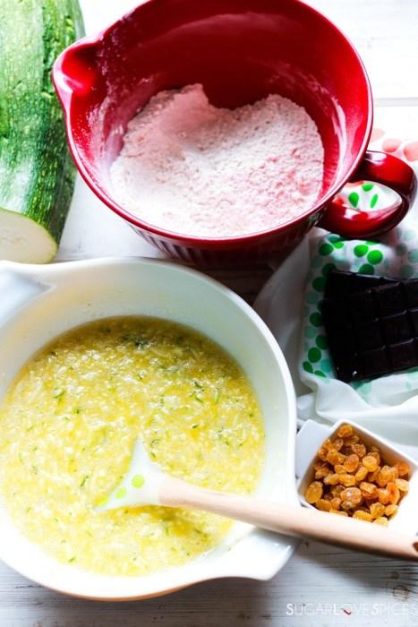 Zucchini Chocolate Raisin Spelt Muffins-wet and dry