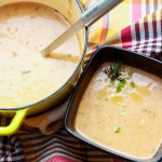 Cream of Kohlrabi and Potato Soup-pot and one bowl