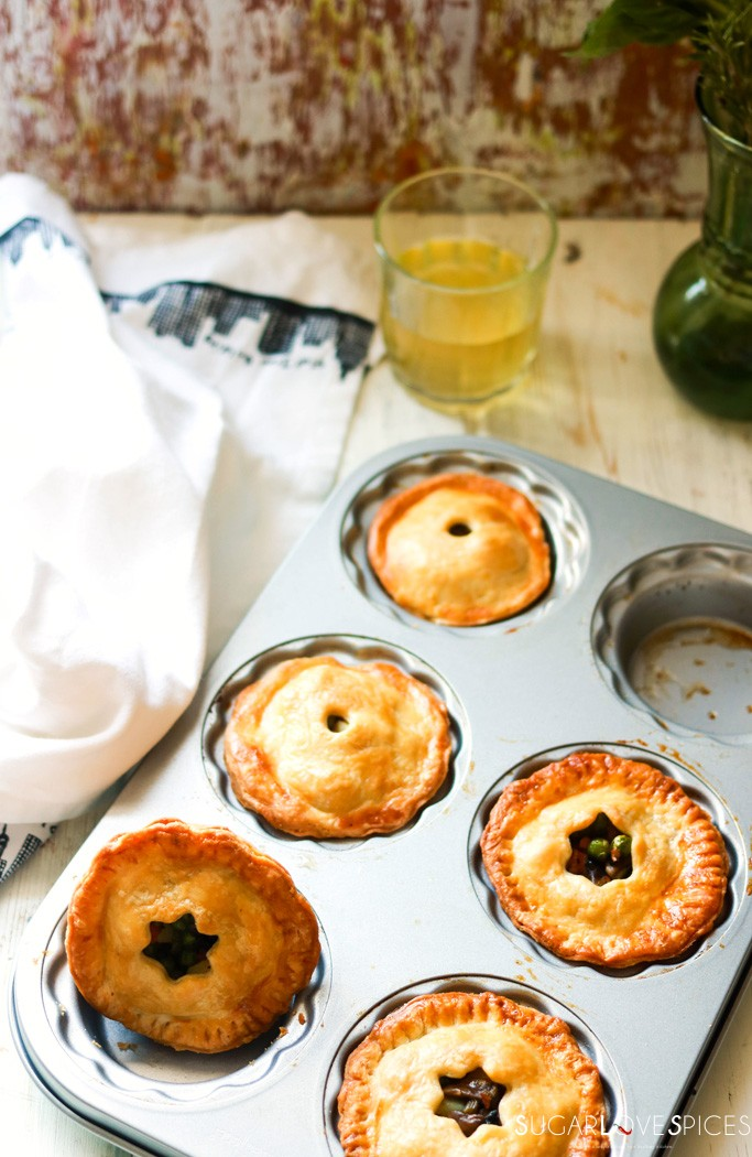Mini Mushroom Pies with Pea and Potato-in the tin