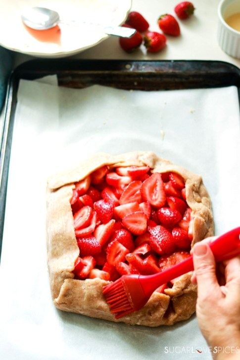 Strawberry Frangipane Galette-brushing egg wash