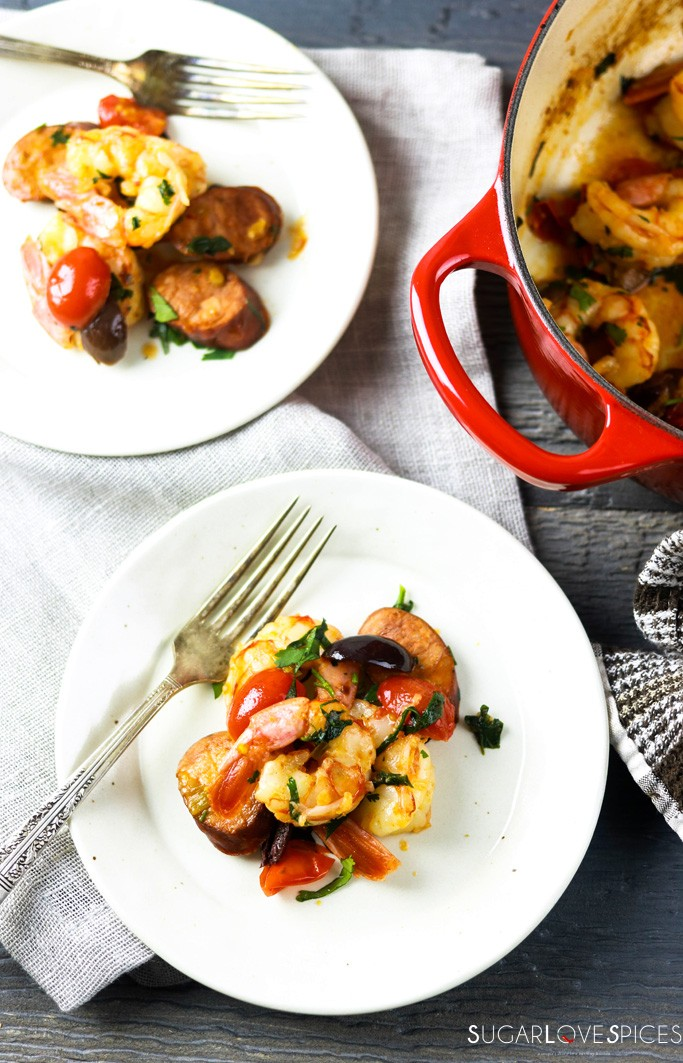 Homestyle Portuguese Shrimp and Chorizo-2 plates and the pan