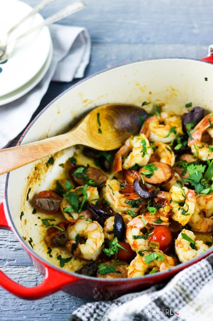 Homestyle Portuguese Shrimp and Chorizo-in the pan