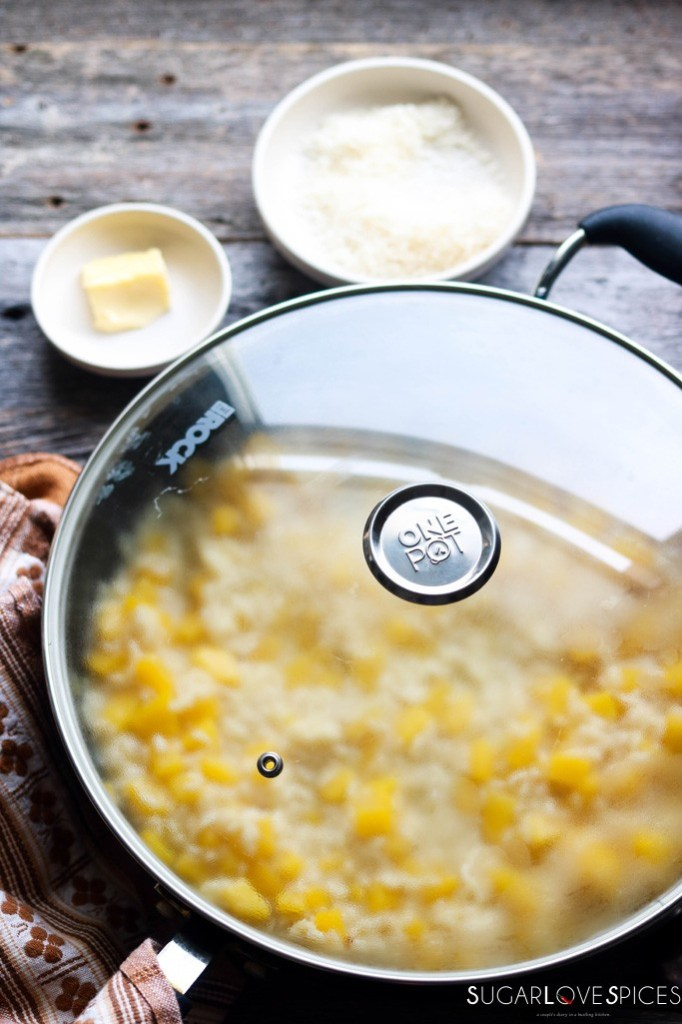 best squash risotto recipe- cover and let rest in the pan