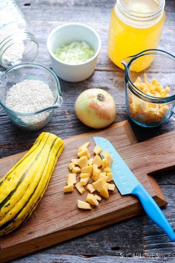 best squash risotto recipe-cutting the squash
