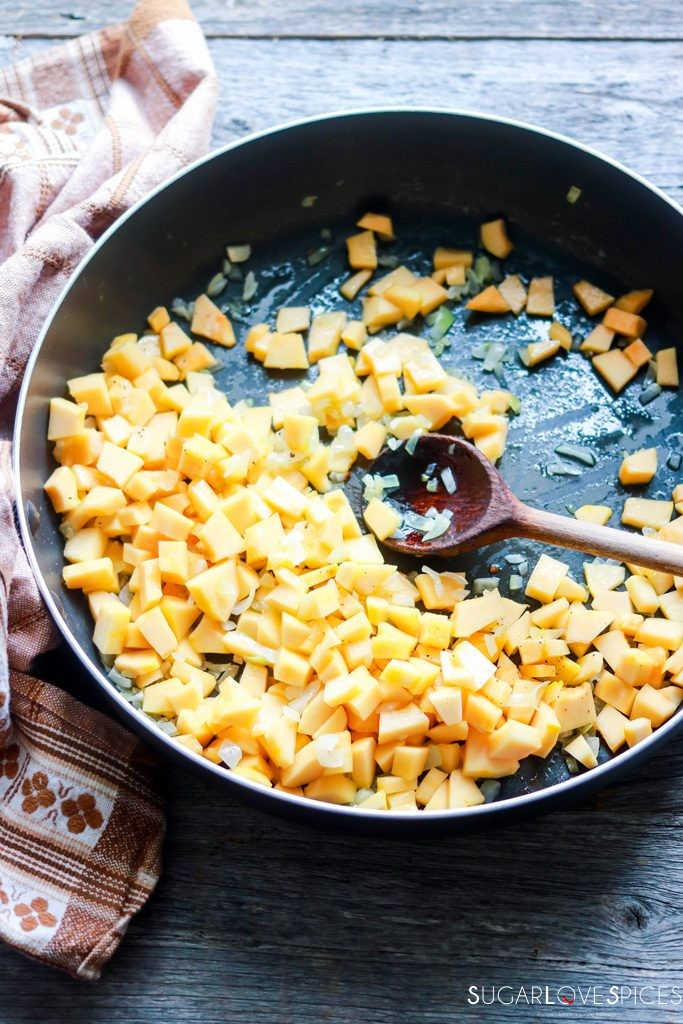 best squash risotto recipe-onion and squash in the pan
