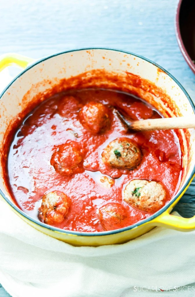Homemade Spaghetti and Meatballs-meatballs in the sauce