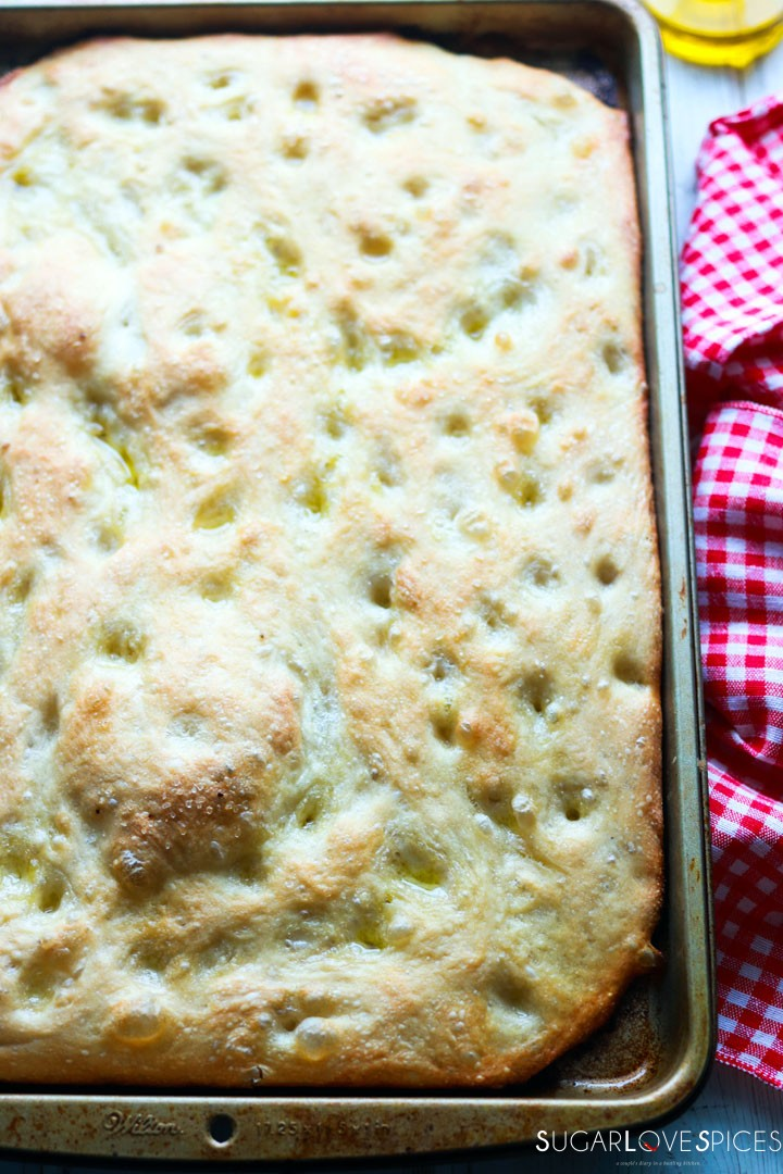 How to make Italian Focaccia Genovese-front of the focaccia with napkin