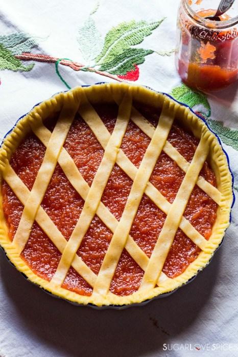 Quince jam tart-before baking