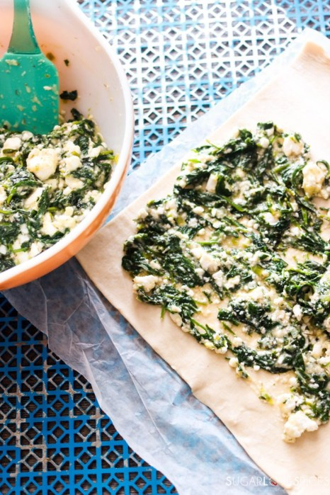 Spinach and Feta Pinwheels-filling the roll