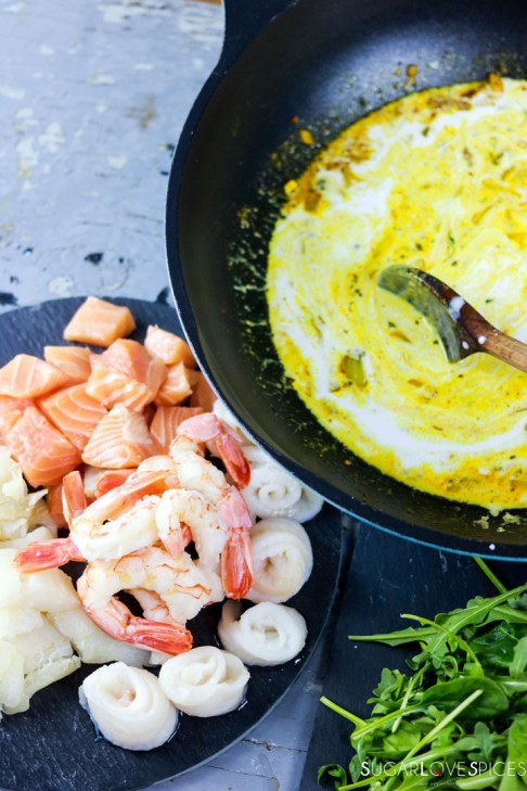 Crustless Curried Seafood Pie-making curry