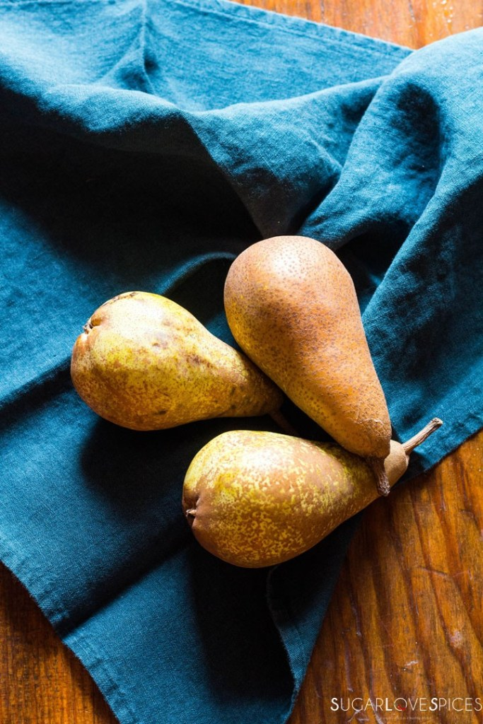 Rustic Pear & Hazelnut Vegan Galette-pears on towel