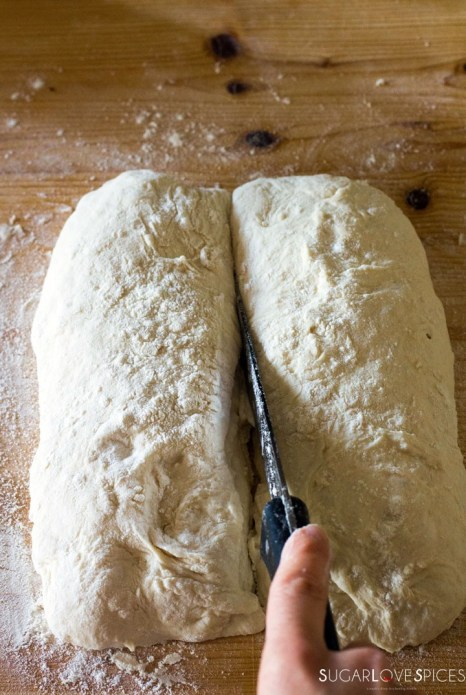 The best Italian Ciabatta Bread Recipe-cutting loaves