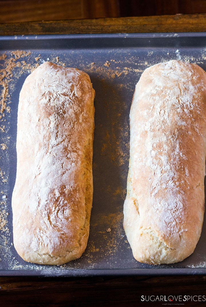 The best Italian Ciabatta Bread Recipe-out of the oven