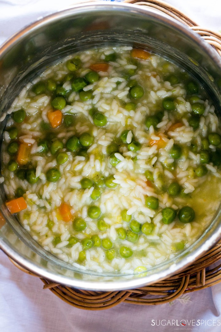 Rice with peas and carrots-in the pot