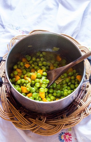 Rice with peas and carrots-peas cooked in the pot