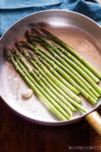 Simple Stove top Lemon Asparagus-in the pan