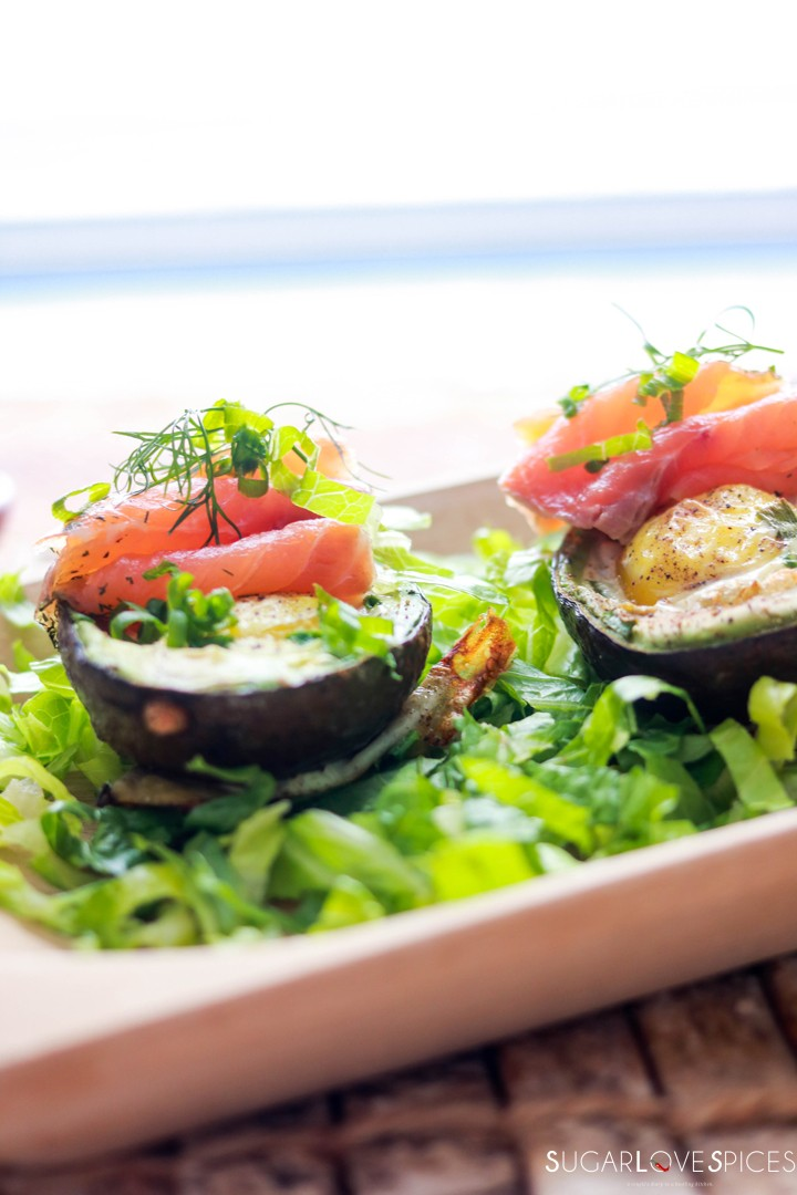 Aguacate Relleno-Stuffed Avocado-on the board-frontal view