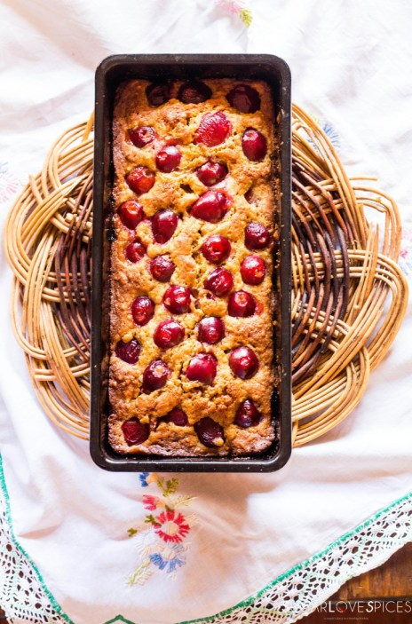 Delicious Cherry Almond Cake-in the pan-baked