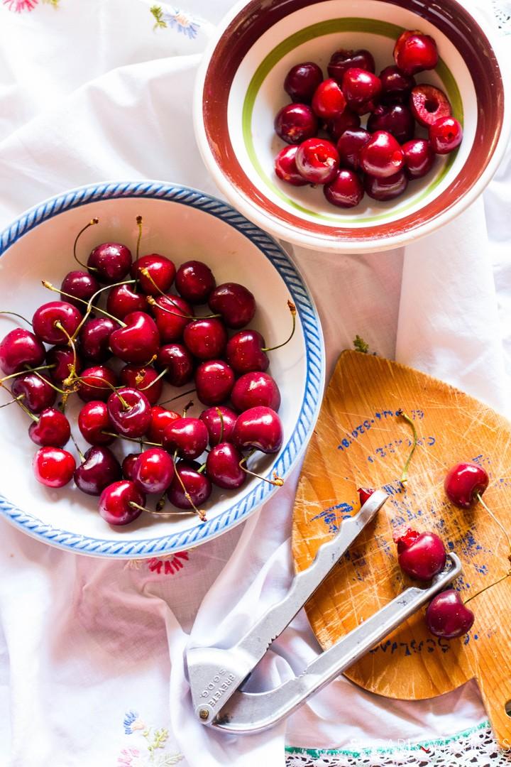 Delicious Cherry Almond Cake-pittimg cherries