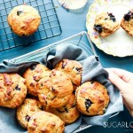 Blueberry Rhubarb Yogurt Muffins with Spelt Flour-in the basket-hand