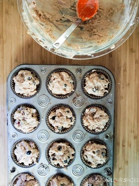 Blueberry Rhubarb Yogurt Muffins with Spelt Flour-ready for the oven
