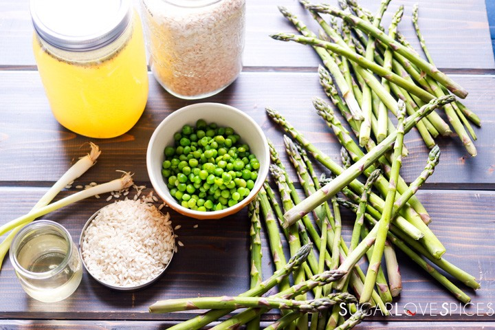 Cream of Asparagus and Pea Risotto-ingredients