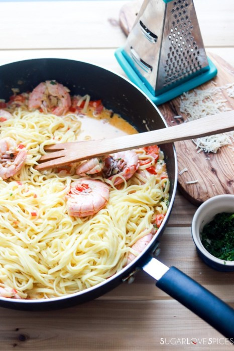 Dad's amazing Shrimp Fettuccine in a cream sauce-pasta in the pan