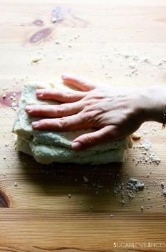 Raspberry Sour Cream Shortcakes-pressing dough