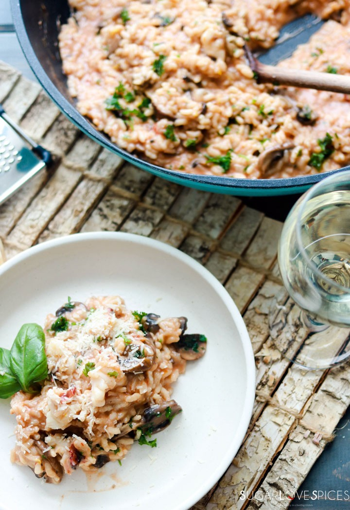 Crimini Mushroom and Lobster Risotto-one plate and wine glass