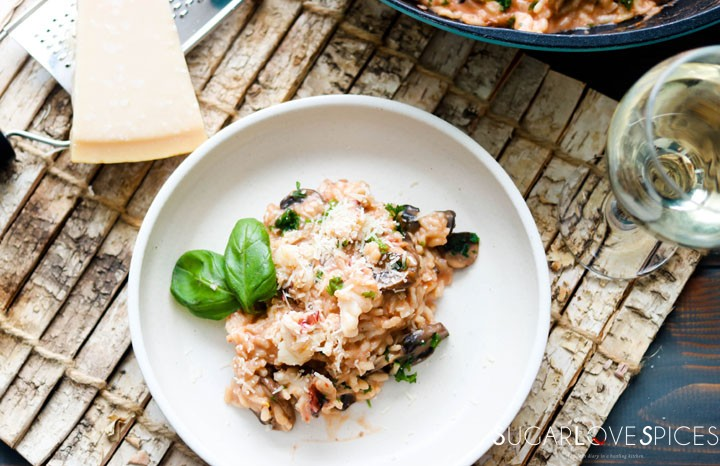 Crimini Mushroom and Lobster Risotto-one plate with parmigiano and wine