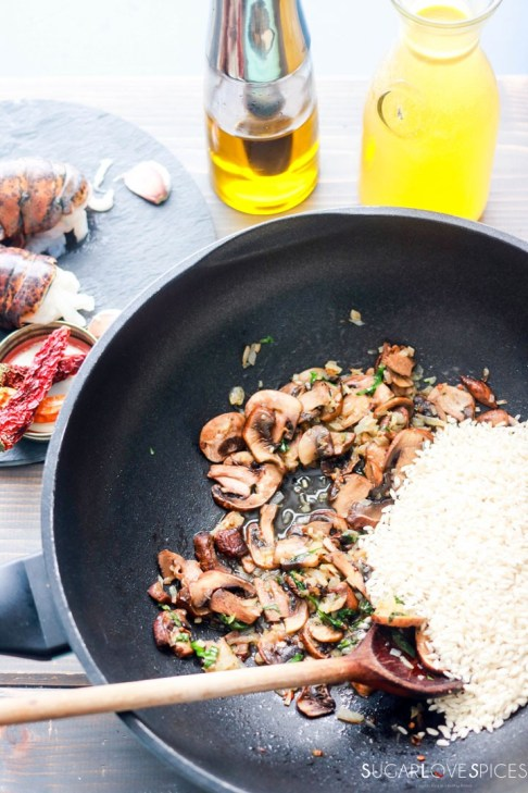 Crimini Mushroom and Lobster Risotto-toasting rice with mushrooms