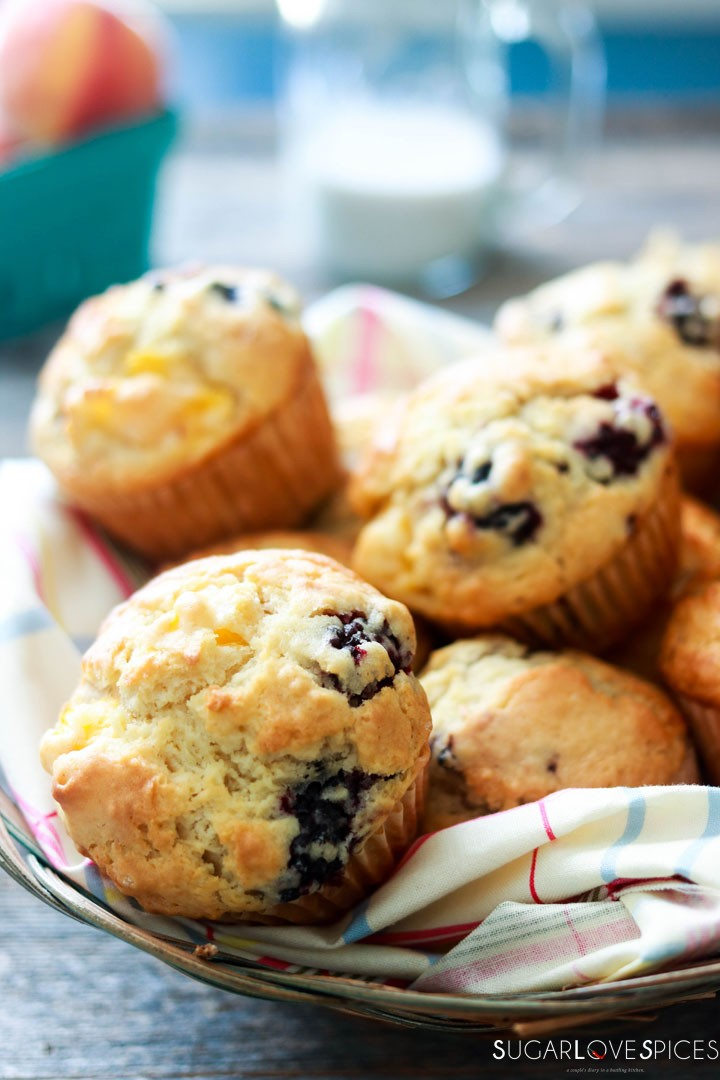 Dairy-free Blackberry Peach Muffins-closeup-in the basket