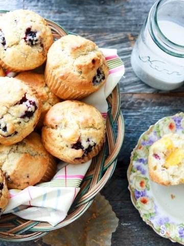 Dairy-free Blackberry Peach Muffins-feauture-hand on mug
