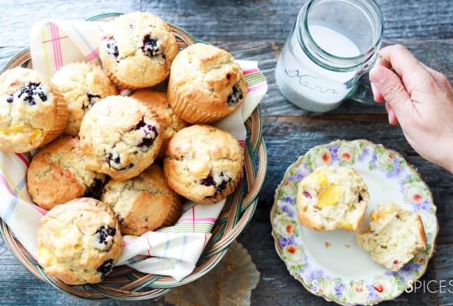 Dairy-free Blackberry Peach Muffins-feauture-hand on mug