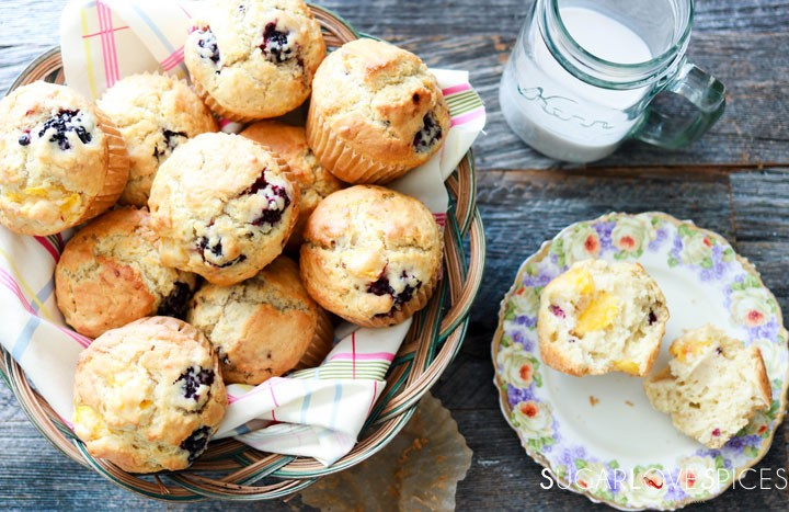 Dairy-free Blackberry Peach Muffins-one muffin on the plate