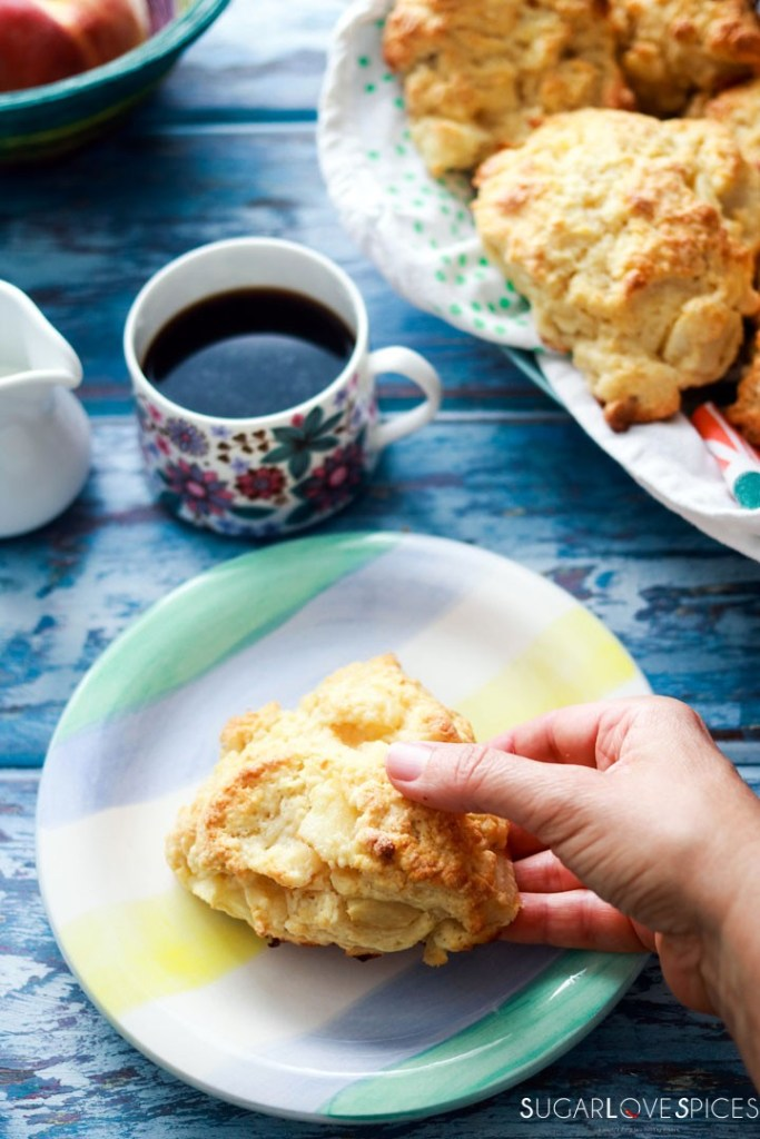 Peach White Chocolate Scones-one on the plate