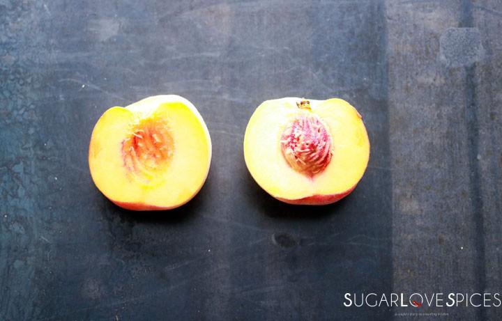 Spelt flour peach yogurt cake-1 peach in half